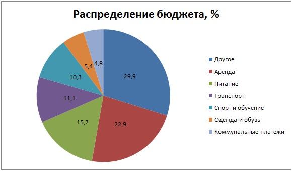 Распределение бюджета, % в Казахстане в семье